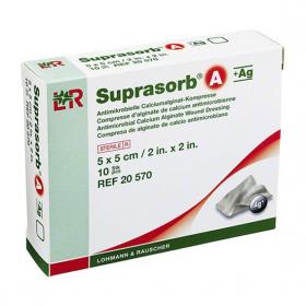 5×5 см Превръзка от калциев алгинат + сребро Suprasorb® A+Ag